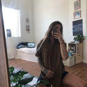 Brown button up shirt